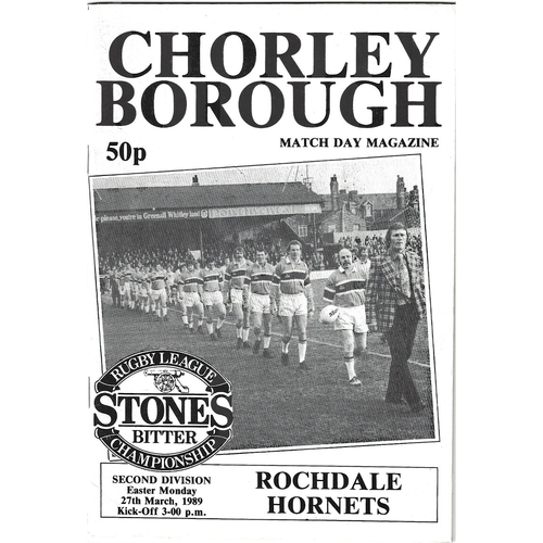 1988/89 Chorley Borough v Rochdale Hornets Rugby League programme