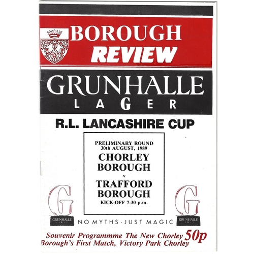 1989/90 Chorley Borough v Trafford Borough Rugby League Lancashire Cup Preliminary Road Programme