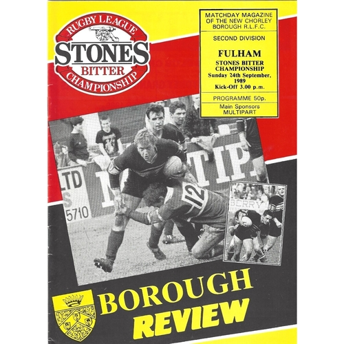 1989/90 Chorley Borough v Fulham Rugby League programme