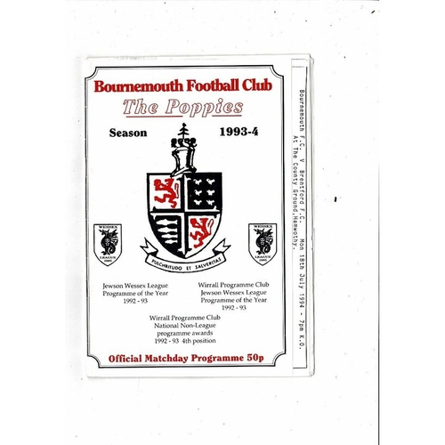 Bournemouth Poppies v Brentford Friendly Football Programme 1994/95