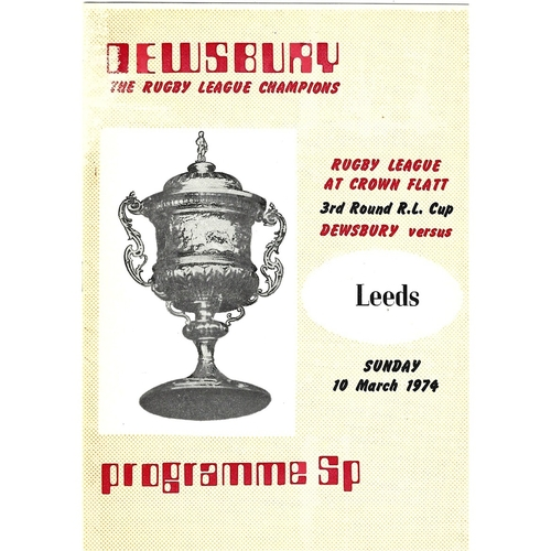 1973/74 Dewsbury v Leeds Challenge Cup 3rd Round Rugby League programme