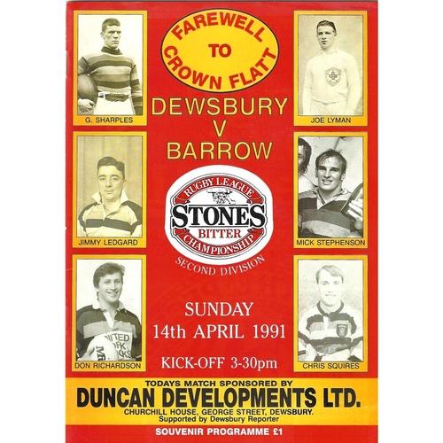 1990/91 Dewsbury v Barrow Rugby League programme