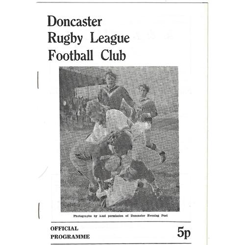 1972/73 Doncaster v Leeds Rugby League programme