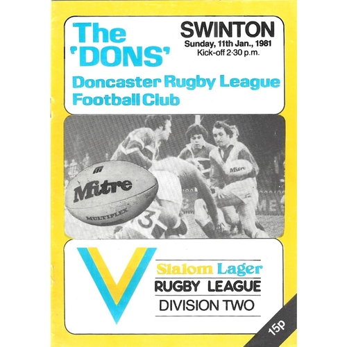 1980/81 Doncaster v Swinton Rugby League programme