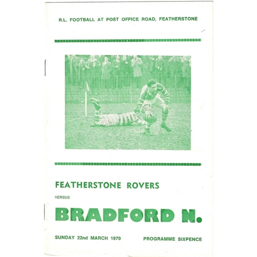 1969/70 Featherstone Rovers v Bradford Northern Players No. 6 Trophy Rugby League programme