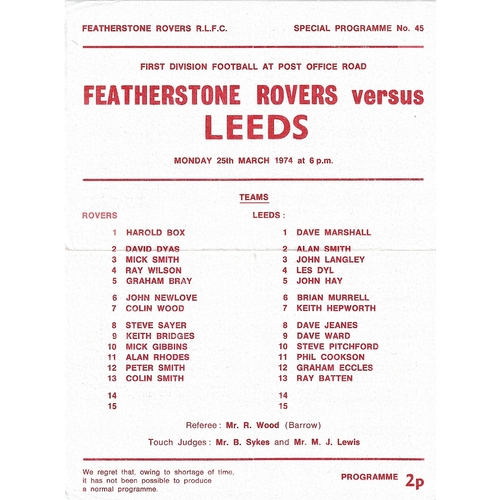 1973/74 Featherstone Rovers v Leeds Rugby League programme