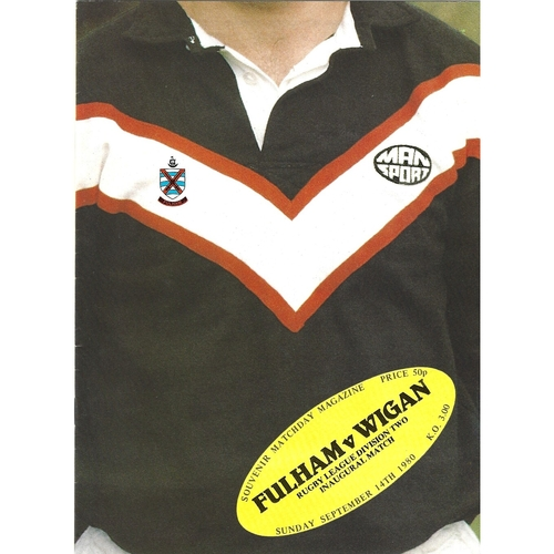 1980/81 Fulham v Wigan Rugby League programme