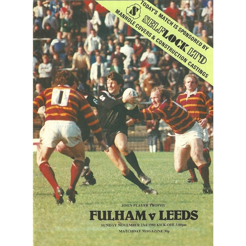 1980/81 Fulham v Leeds John Player Trophy Rugby League programme