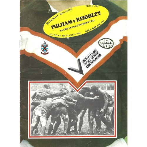 1980/81 Fulham v Keighley Rugby League programme