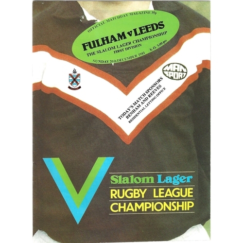 1981/82 Fulham v Leeds Rugby League programme & Team Sheet/Programme