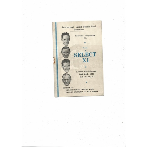 Peterborough United v Select X1 Friendly Football Programme 1955/56