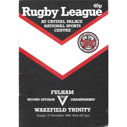 1984/85 Fulham v Wakefield Trinity Rugby League programme
