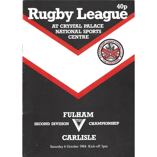 1984/85 Fulham v Carlisle Rugby League programme