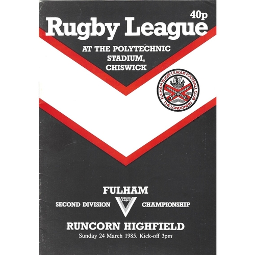 1984/85 Fulham v Runcorn Highfield Rugby League programme