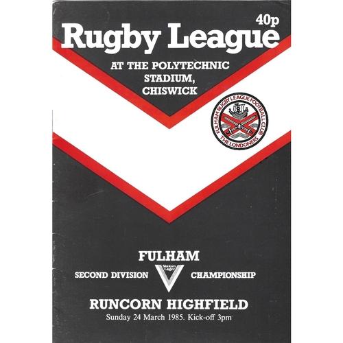 1984/85 Fulham v Runcorn Highfield Rugby League programme