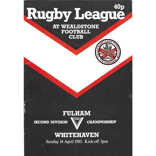 1984/85 Fulham v Whitehaven Rugby League programme
