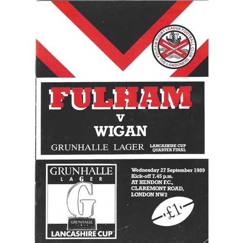 1989/90 Fulham v Wigan Lancashire Cup Quarter Final Rugby League programme