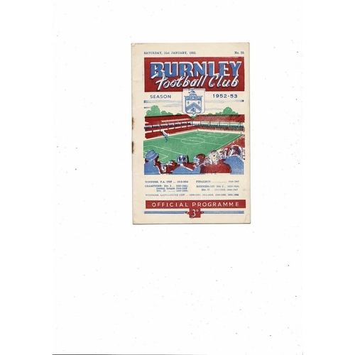 1952/53 Burnley v Sunderland FA Cup Football Programme