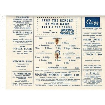 1954/55 Bradford Park Avenue v Accrington Stanley Football Programme