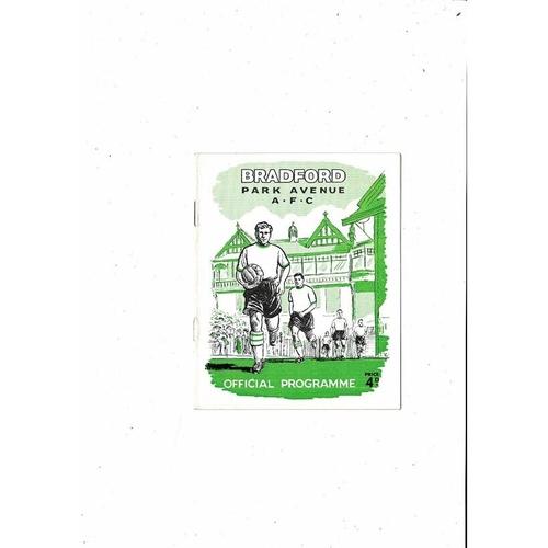 1960/61 Bradford Park Avenue v Peterborough United Football Programme April 4th