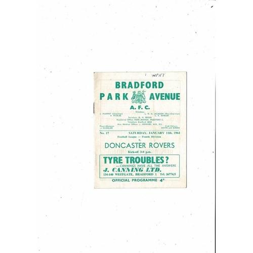 1963/64 Bradford Park Avenue v Doncaster Rovers Football Programme