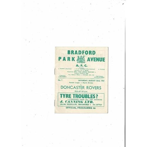 1964/65 Bradford Park Avenue v Doncaster Rovers Football Programme