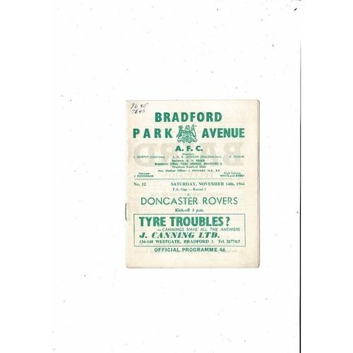 1964/65 Bradford Park Avenue v Doncaster Rovers FA Cup Football Programme