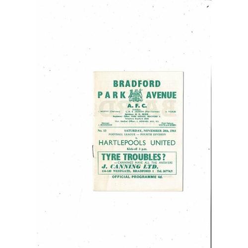 1964/65 Bradford Park Avenue v Hartlepool United Football Programme