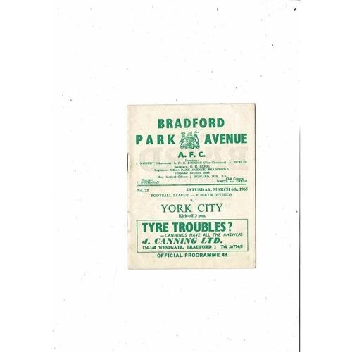 1964/65 Bradford Park Avenue v York City Football Programme