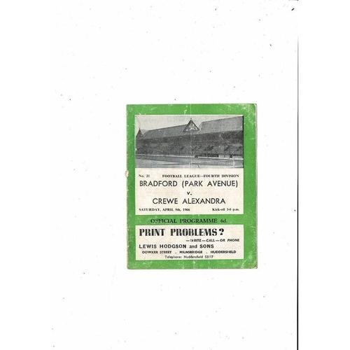 1965/66 Bradford Park Avenue v Crewe Alexandra Football Programme