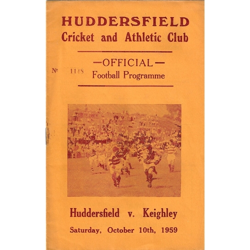 1959/60 Huddersfield v Keighley Rugby League programme