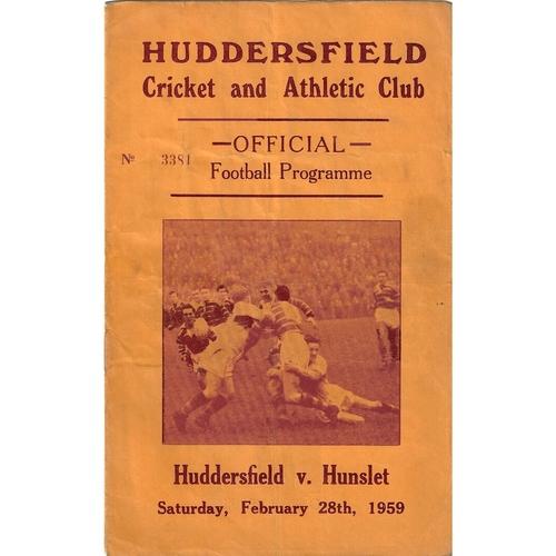 1958/59 Huddersfield v Hunslet Rugby League programme