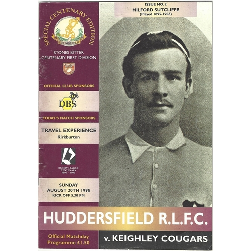 1995/96 Huddersfield v Keighley Cougars Rugby League programme