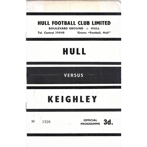 1961/62 Hull v Keighley Rugby League programme