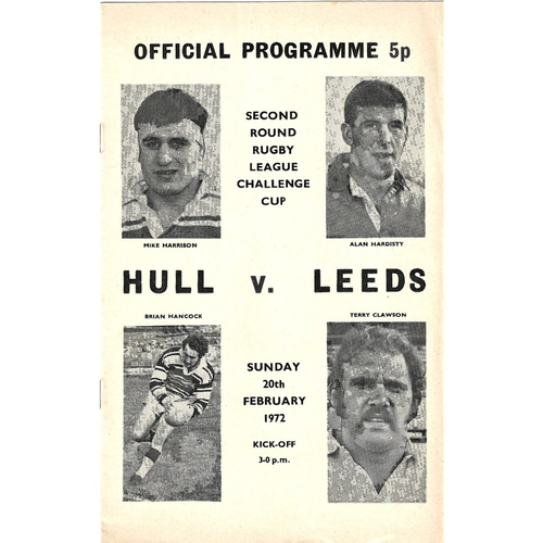 1971/72 Hull v Leeds Challenge Cup Second Round Rugby League programme