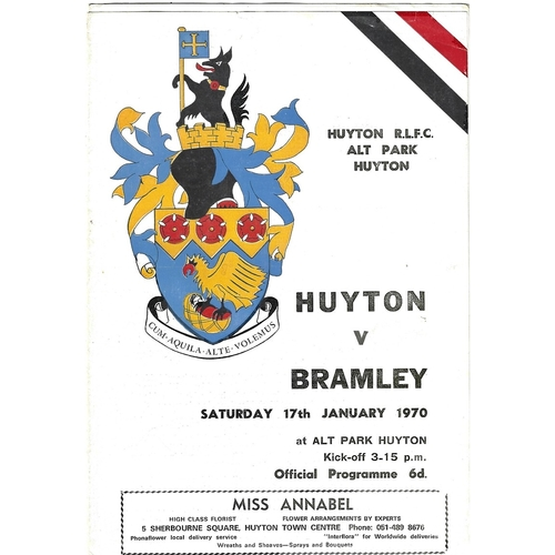 1969/70 Huyton v Bramley Rugby League programme
