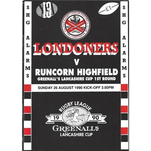 1990/91 Fulham v Runcorn Highfield Rugby League programme