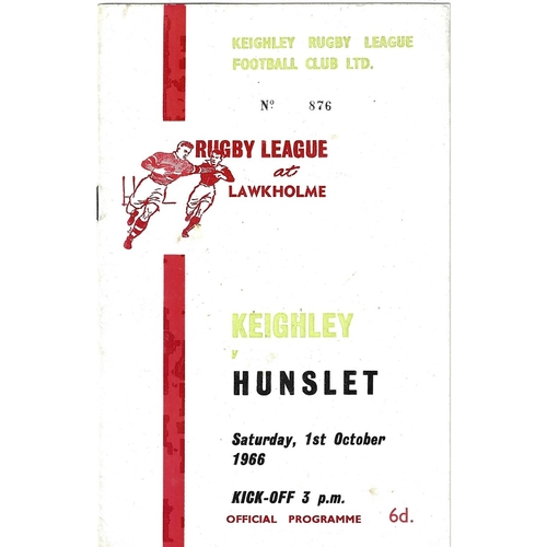 1966/67 Keighley v Hunslet Rugby League programme