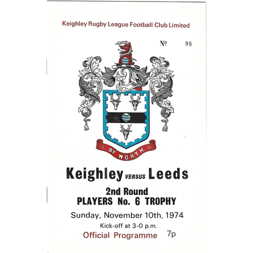 1974/75 Keighley v Leeds Players No. 6 Trophy 2nd Round Rugby League programme