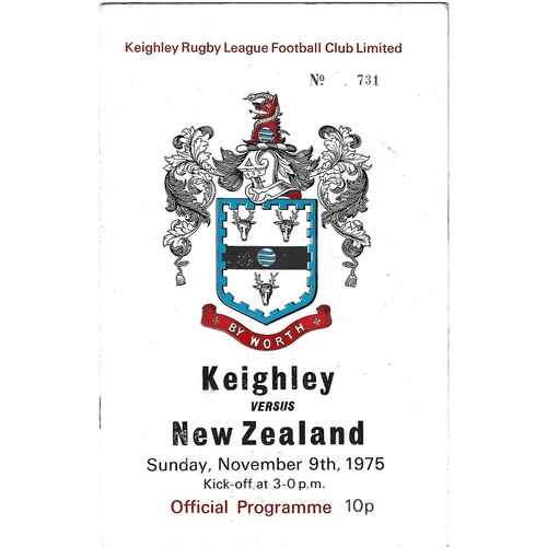 1975/76 Keighley v New Zealand Rugby League programme & loose New Zealand Team Info Sheet