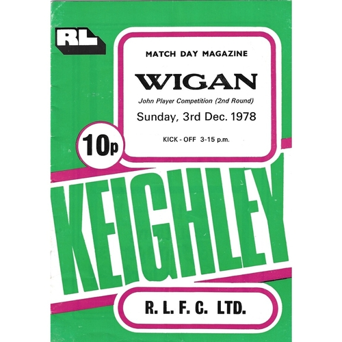 1978/79 Keighley v Wigan John Player Competition 2nd Round Rugby League programme
