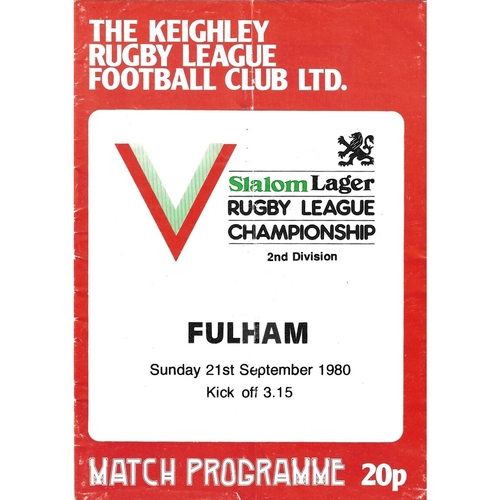 1980/81 Keighley v Fulham Rugby League programme