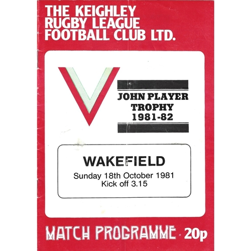 1981/82 Keighley v Wakefield Trinity John Player Trophy 1st Round Rugby League programme