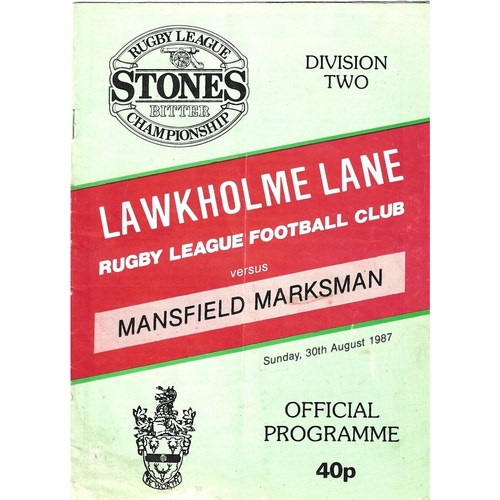 1987/88 Keighley v Mansfield Marksman Rugby League programme