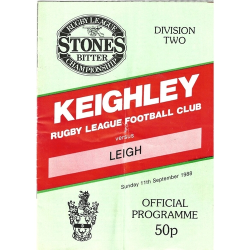 1988/89 Keighley v Leigh Rugby League programme