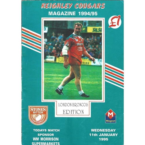 1994/95 Keighley Cougars v London Broncos Rugby League programme