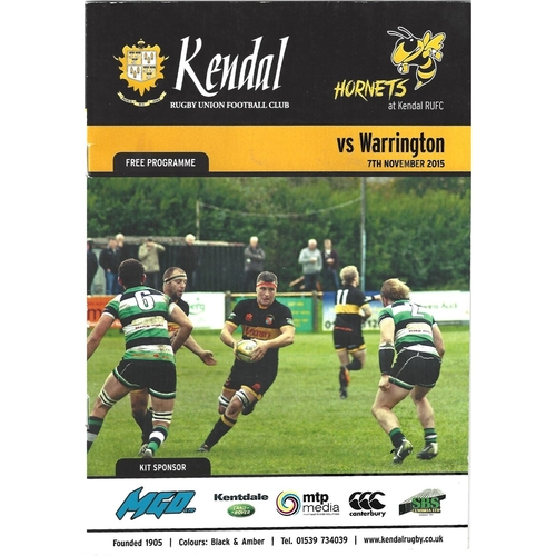 2015 Kendal v Warrington Rugby League programme