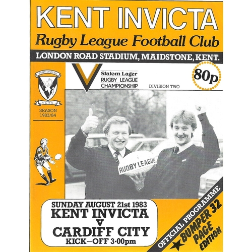 Kent Invicta Home Rugby League Programmes