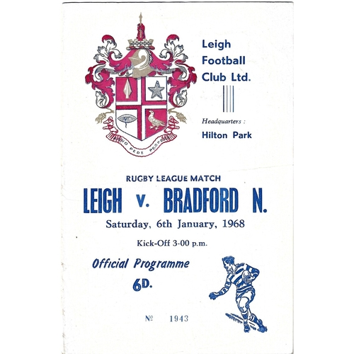 1968 Leigh v Bradford Northern Rugby League programme