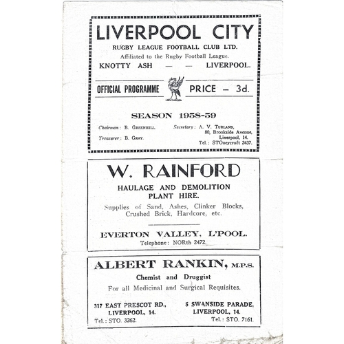 1958/59 Liverpool City v Leeds Rugby League programme